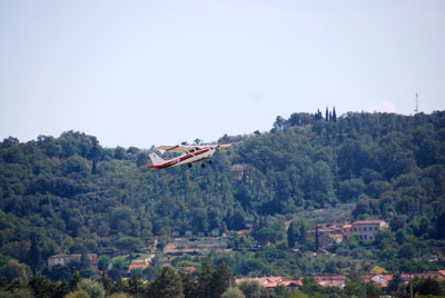 Taking off from Simpang airfield